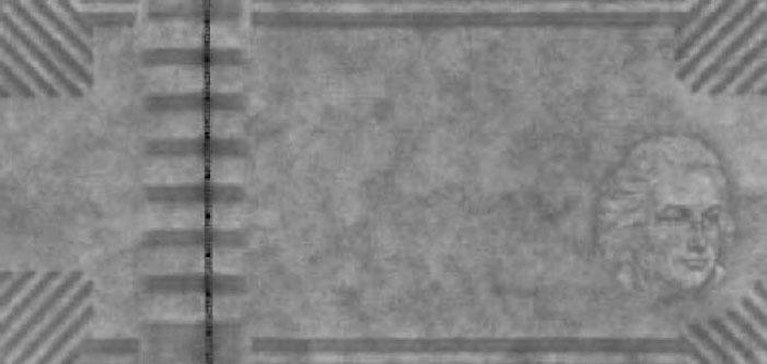 Рекламная банкнота De La Rue с водяными знаками Edgetone® (вдоль верхнего и нижнего края) и Cornerstone® (краеугольный водяной знак).